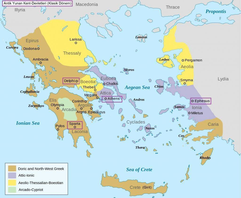 Antik Yunan Uygarlığı Haritası