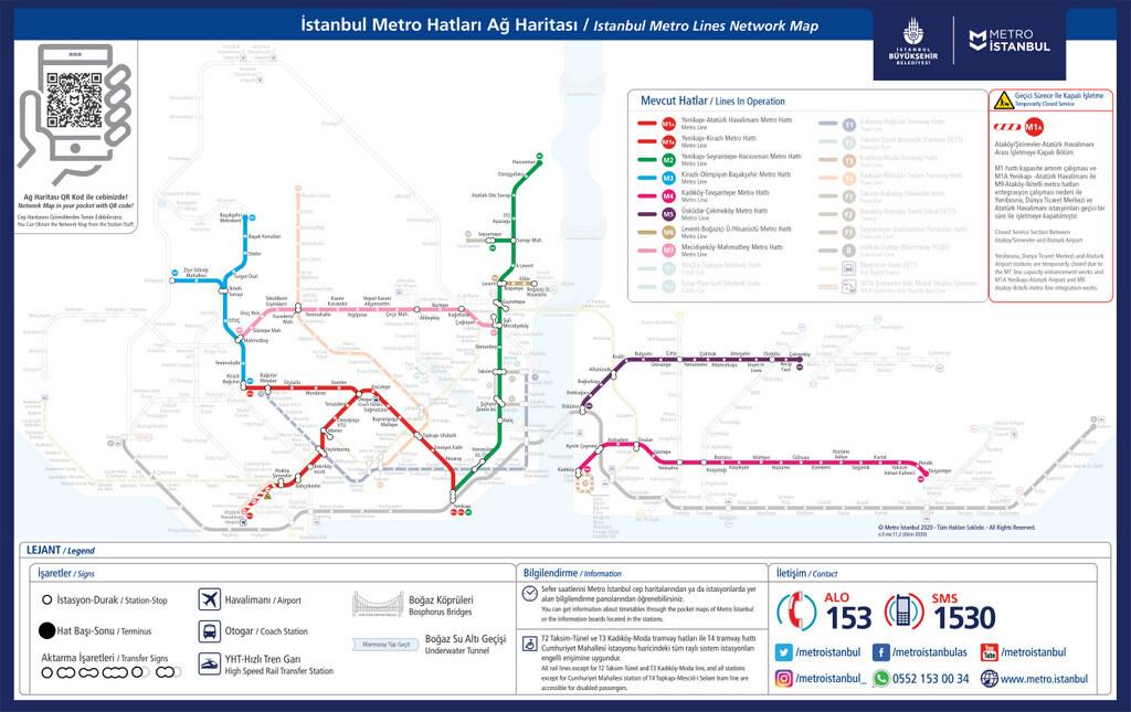 İstanbul Toplu Taşıma Metro Haritası