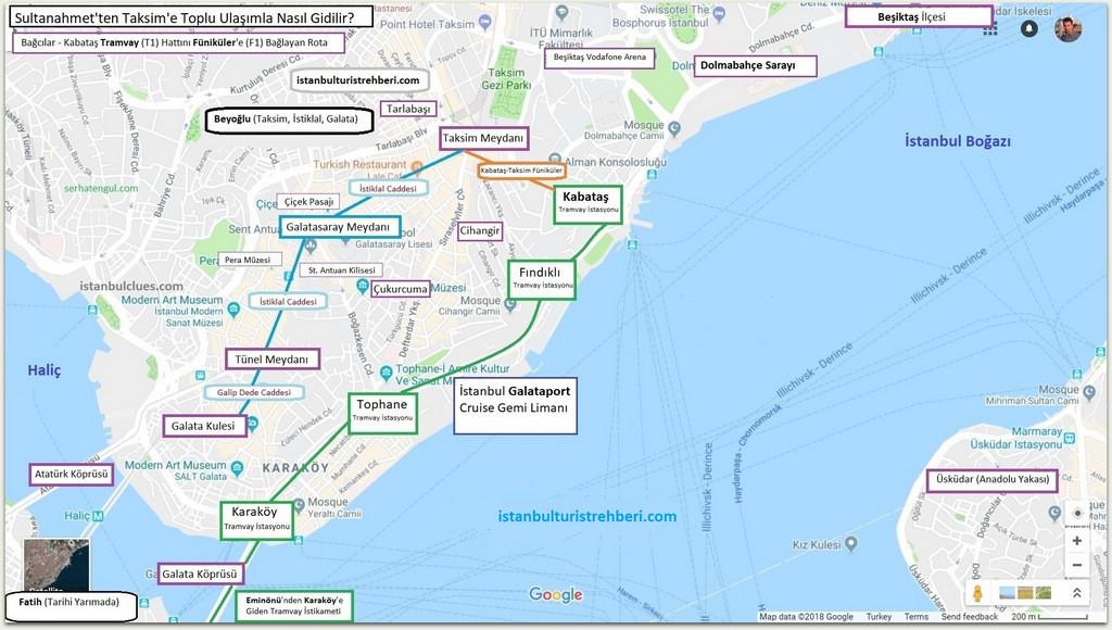 Beyoğlu Ulaşım Haritası